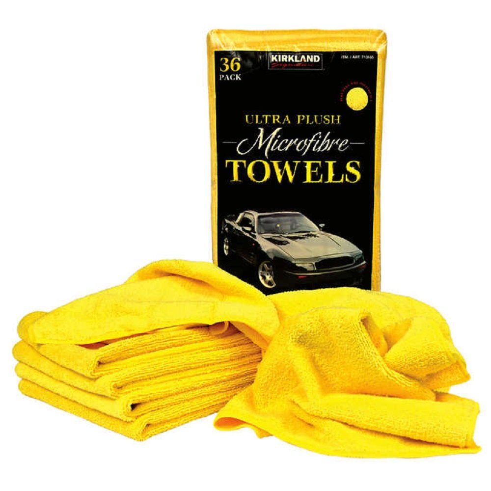 Affordable 'Ultra Plush' Scratch-Free and Streak-Free Microfiber Towel Case (324-count), Yellow Kirkland_Signature 1142291