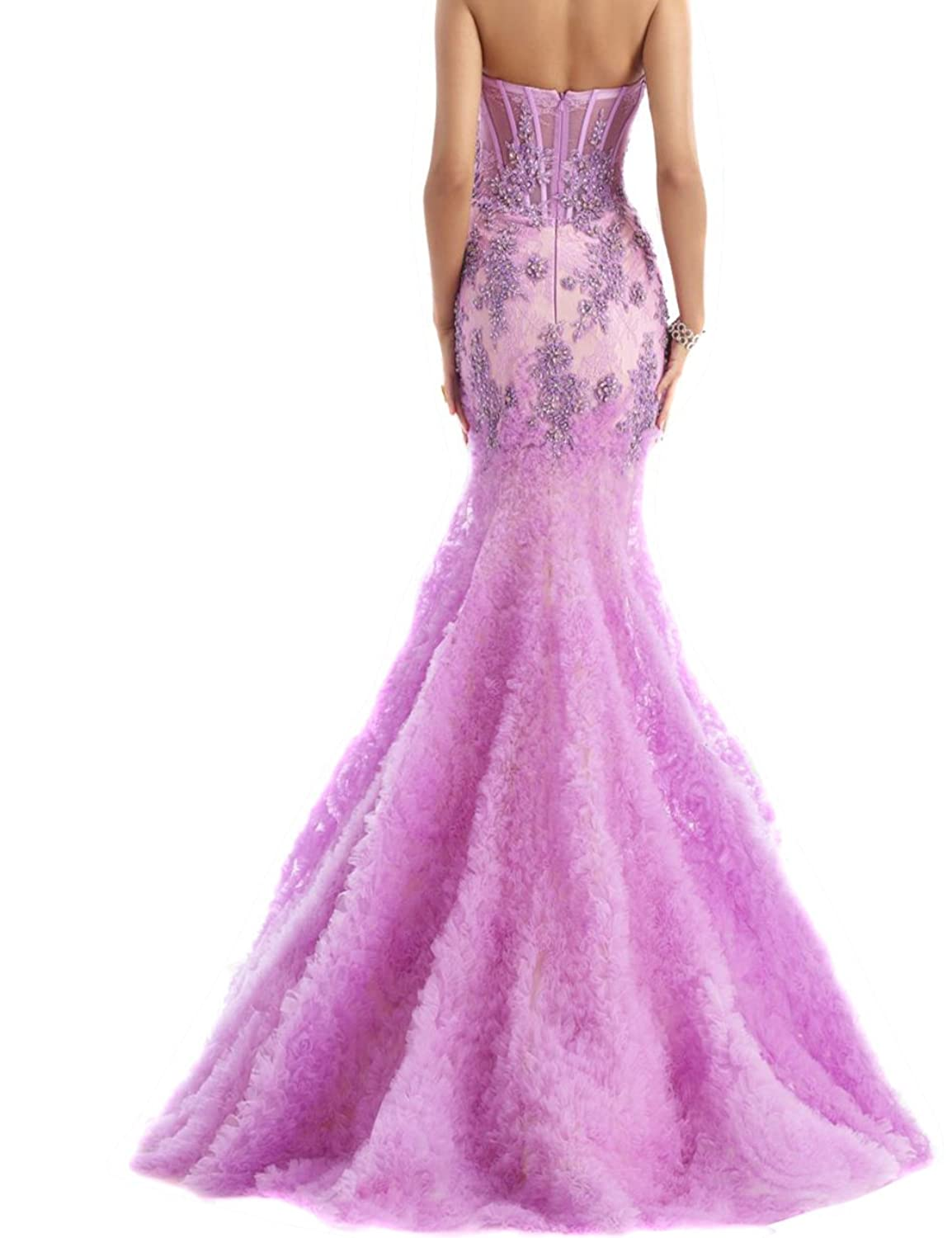 Fanciest Women's Appliques Sheer Sexy Mermaid Prom Dresses Long Evening Formal Gowns
