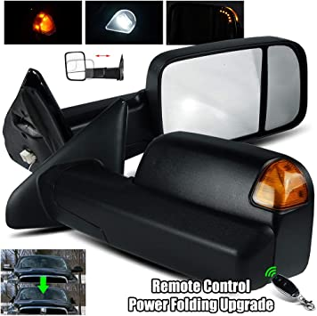 For 02-08 Ram 1500//03-09 2500//3500 Power//Heat//Amber Signal Chrome Towing Mirrors