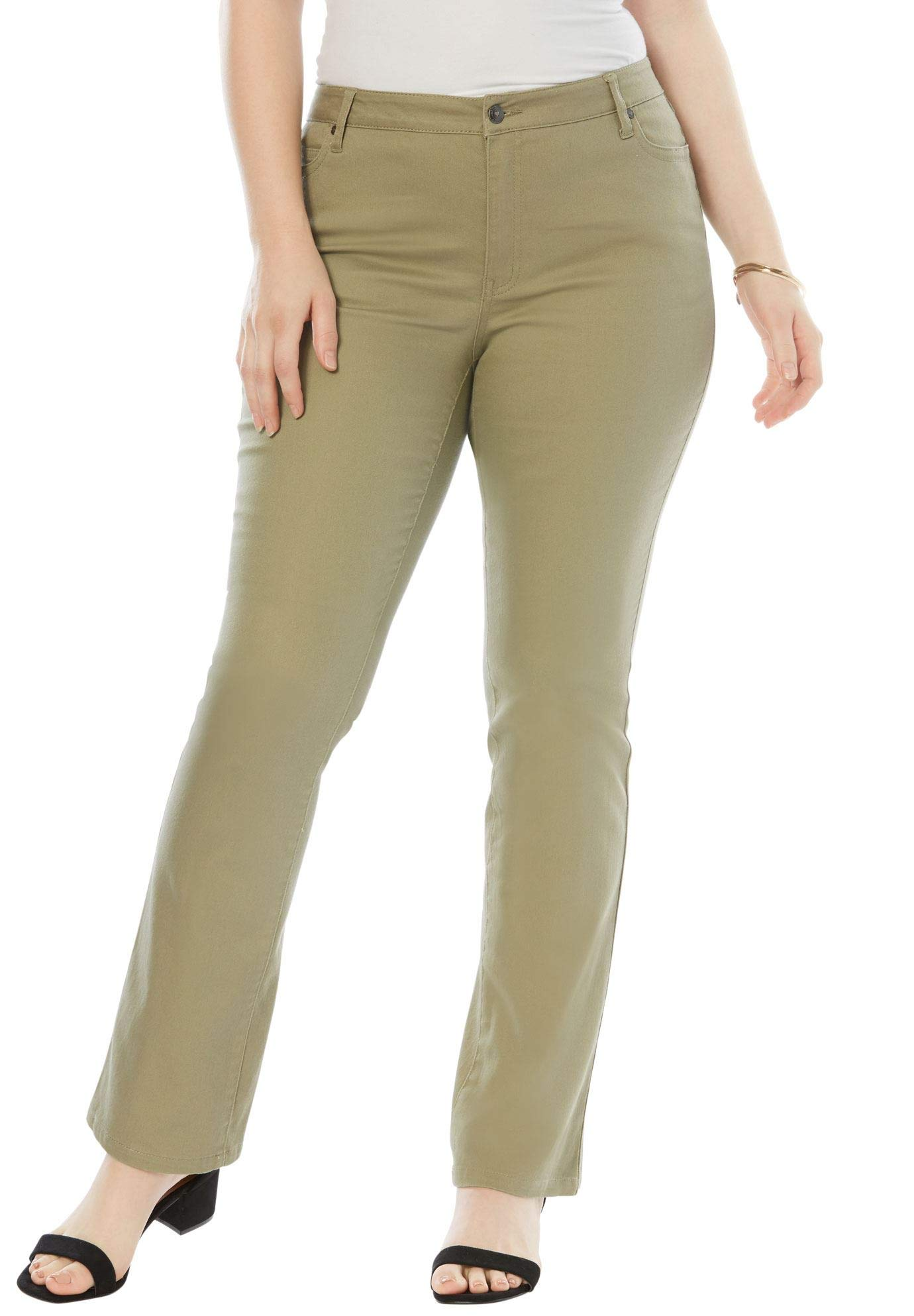 Roamans Women's Plus Size 5-Pocket Bootcut Jeans with Invisible Stretch