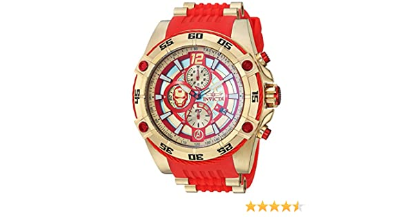 Amazon.com: Invicta Mens Marvel Stainless Steel Quartz Watch with Silicone Strap, red, 26.25 (Model: 26796: Watches