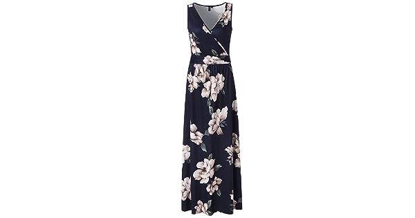 b9f85c3e373f Zattcas Womens V Neck Sleeveless Maxi Dress Casual Empire Floral Maxi Dress  (Small, Navy)