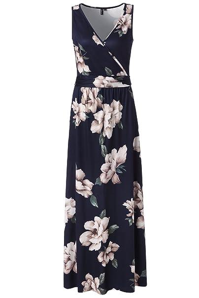 ff52c835e4 Zattcas Womens V Neck Sleeveless Maxi Dress Casual Empire Floral Maxi Dress  (XX-Large