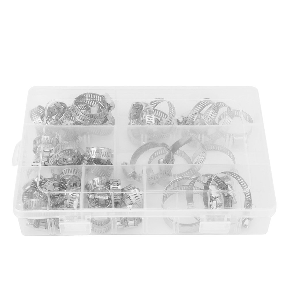 Fdit 50pcs Stainless Steel Hose Clamps Adjustable Tube Clamps Clip Lock Assortment Set for Plumping Piping10 Kinds of Size