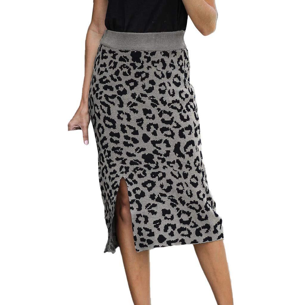 SHUSUEN Women's Elastic Waist Stretch Bodycon Knee Length Leopard Print Pencil Skirt Gray by SHUSUEN