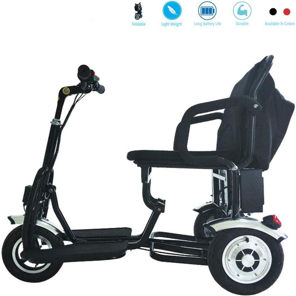Scooter Electrico Adulto, Nuevo Scooter De Movilidad Eléctrica De 3 Ruedas Luz LED Triciclo Eléctrico Plegable para Personas Mayores, Más Alejado Cuando Está Completamente Cargado 50 Km
