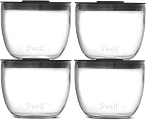 S'well Prep Food Glass Bowls - Set of 4, 12oz Bowls - Make Meal Prep Easy and Convenient - Leak-Resistant Pop-Top Lids - Microwavable and Dishwasher-Safe, clear (14212-B20-69900)