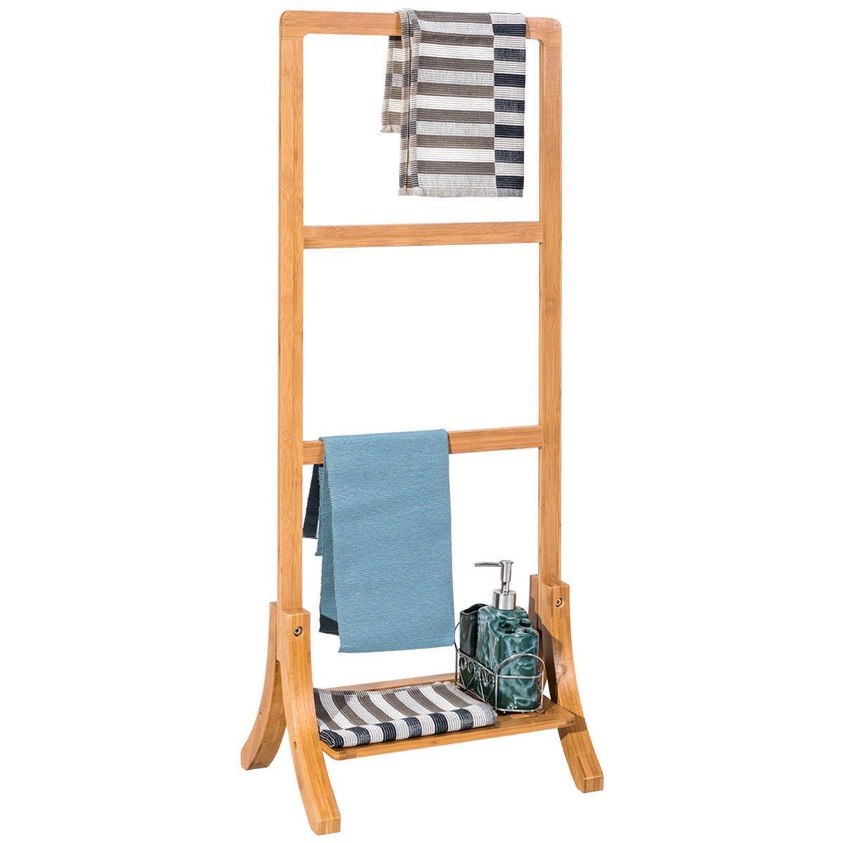 Bamboo Towel Rack Hanger Free Standing W/ Bottom Shelf Bathroom Storage