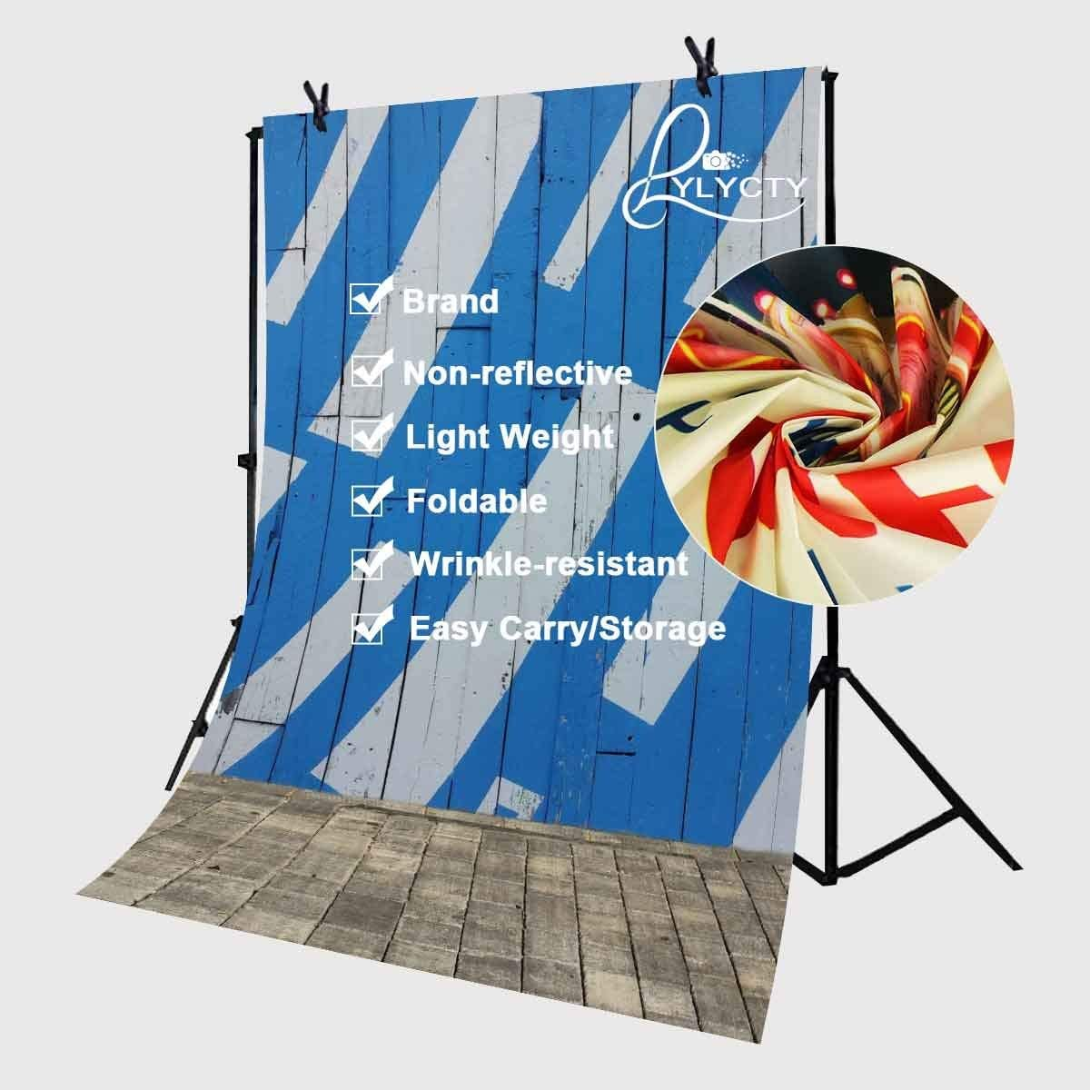 CdHBH 5x7ft Polyester Backdrop Art Graffiti Blue and White Wall Wood Floor Photography Background YouTube Photo Studio Props LYGE480