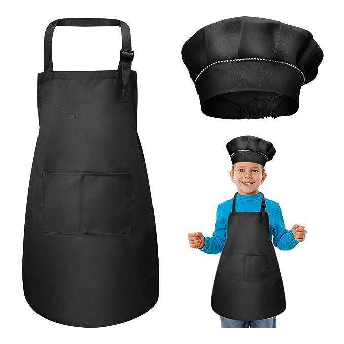 iwobi Chef set Bambino,6 pezzi Stampo Grembiule per Bambini Cottura Set Cucchiaio di Legno e Tappetino Resistente al Calore,Guanto da Forno