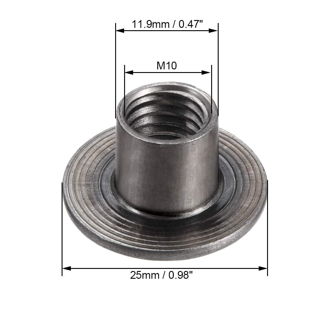 1Mm 30 piezas sourcing map Tuercas en forma en T de acero al carbono base redonda para enroscar atornillar con agujero de M4x15x1