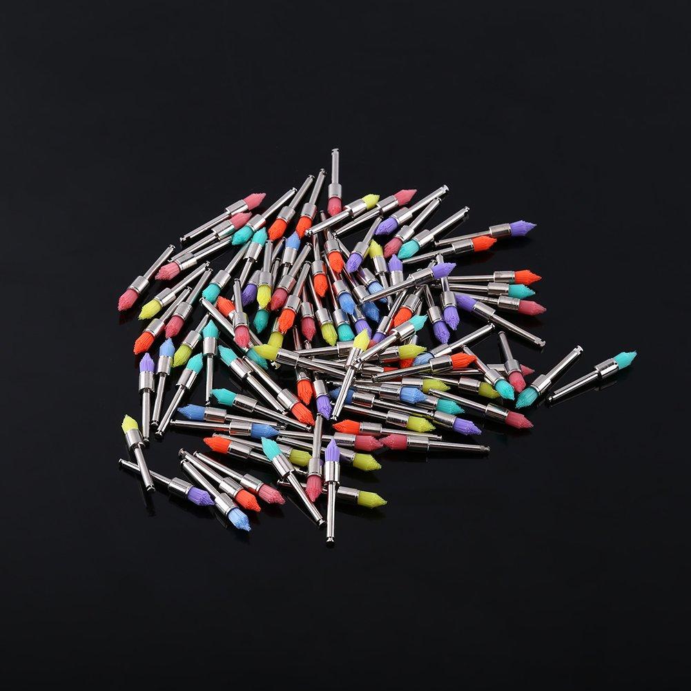 100pcs Polishing Brushes Dental Prophy Polishing Brushes Polisher Nylon Tapered Brush(Multicolor)