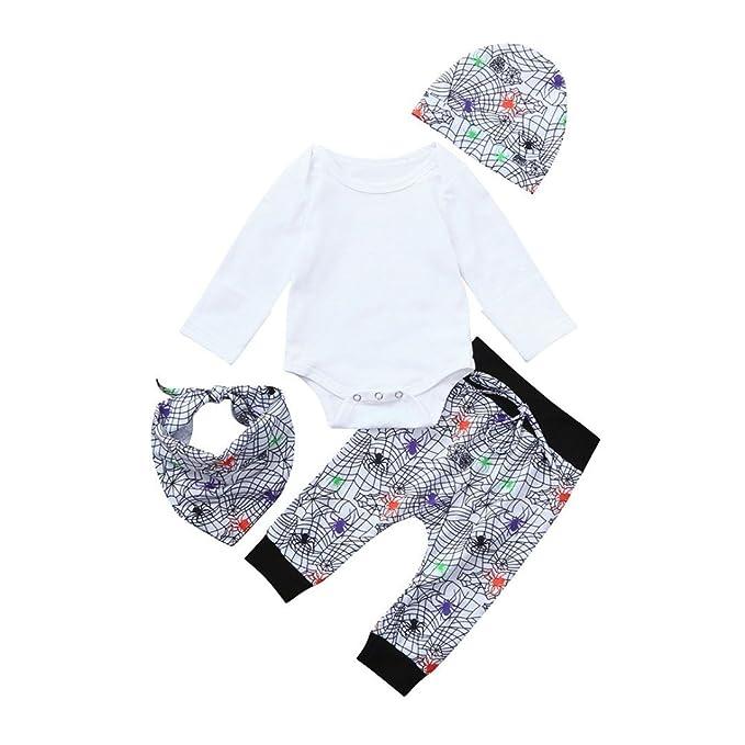 Conjuntos para Unisex Bebé Niños Niñas Otoño Invierno PAOLIAN Monos Manga Largas + Pantalones + Gorros + Toalla de la Saliva Estampado Calaveras ...