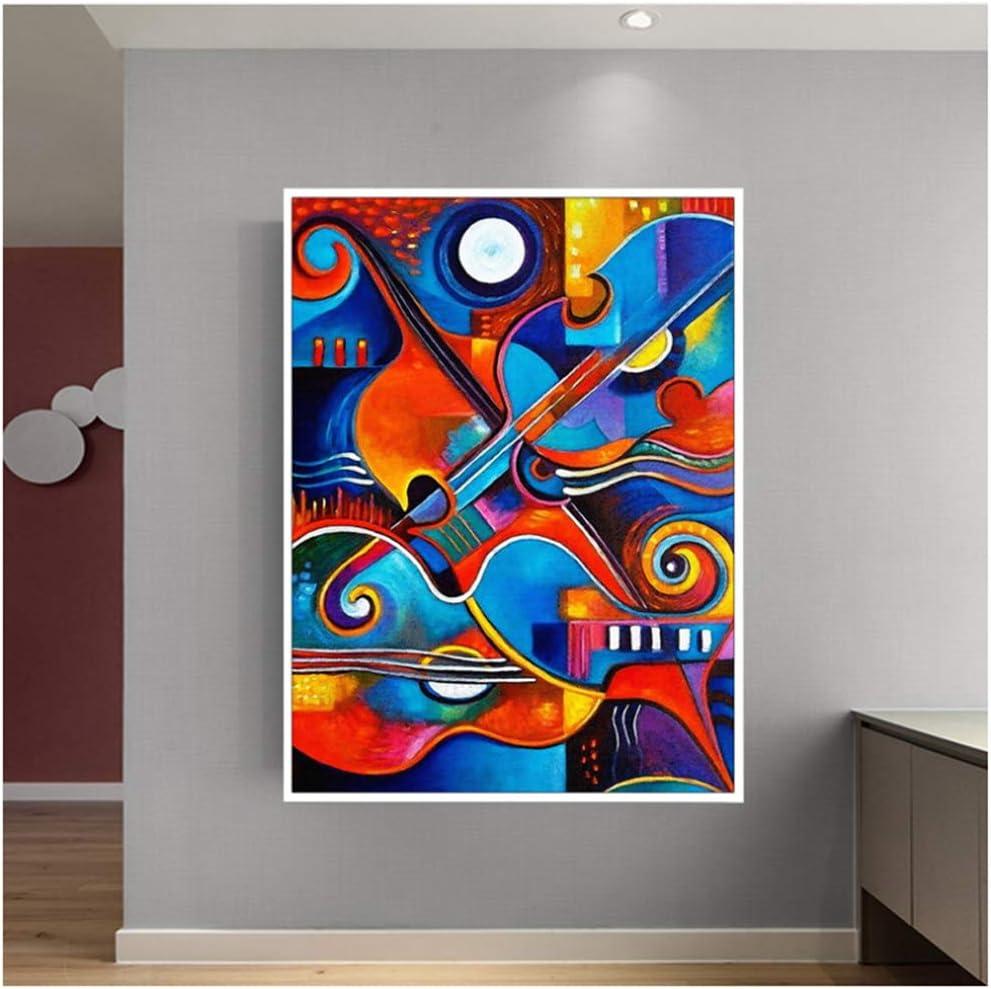Impresión Pintura en lienzo Arte Arte abstracto Guitarra colorida para la sala Arte de la pared Carteles Cuadros decorativos modernos 40x60 cm / 15.7