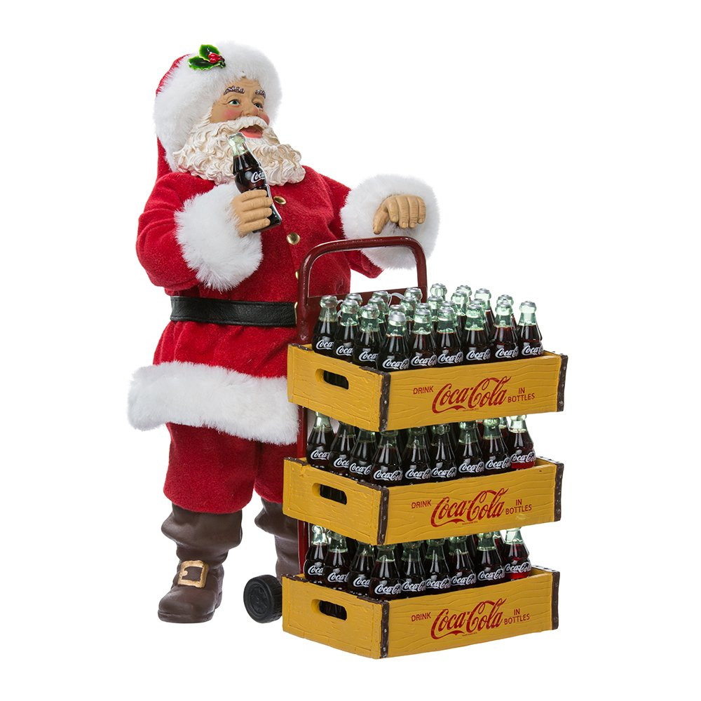 Kurt Adler Coca-Cola Santa with Delivery Cart, 10.5-Inch, Set of 2