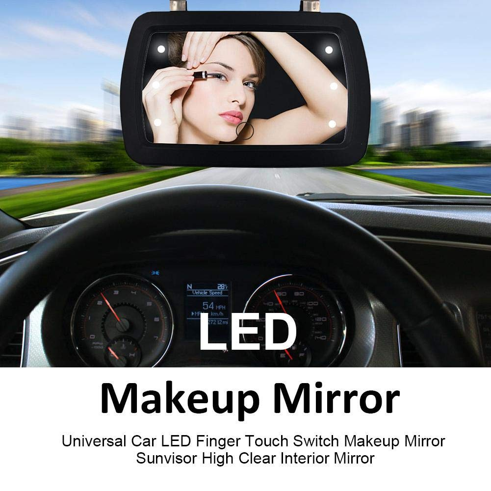 17.5x12.8x3 Cm Beatie Universal Car LED Finger Touch Switch Makeup Mirror Approx Easy To Mount High Clear Visor Vanity Mirror For Car