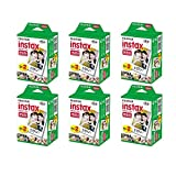 Fujifilm Instax Mini Instant Film, 2x10 Shoots x6 Pack (Total 120 Shoots) + withC Microfiber Cleaning Cloth+ Free 60PCS Sticker for Fuji Mini 90 8 70 7s 50s 25 300 Camera SP-1 Printer