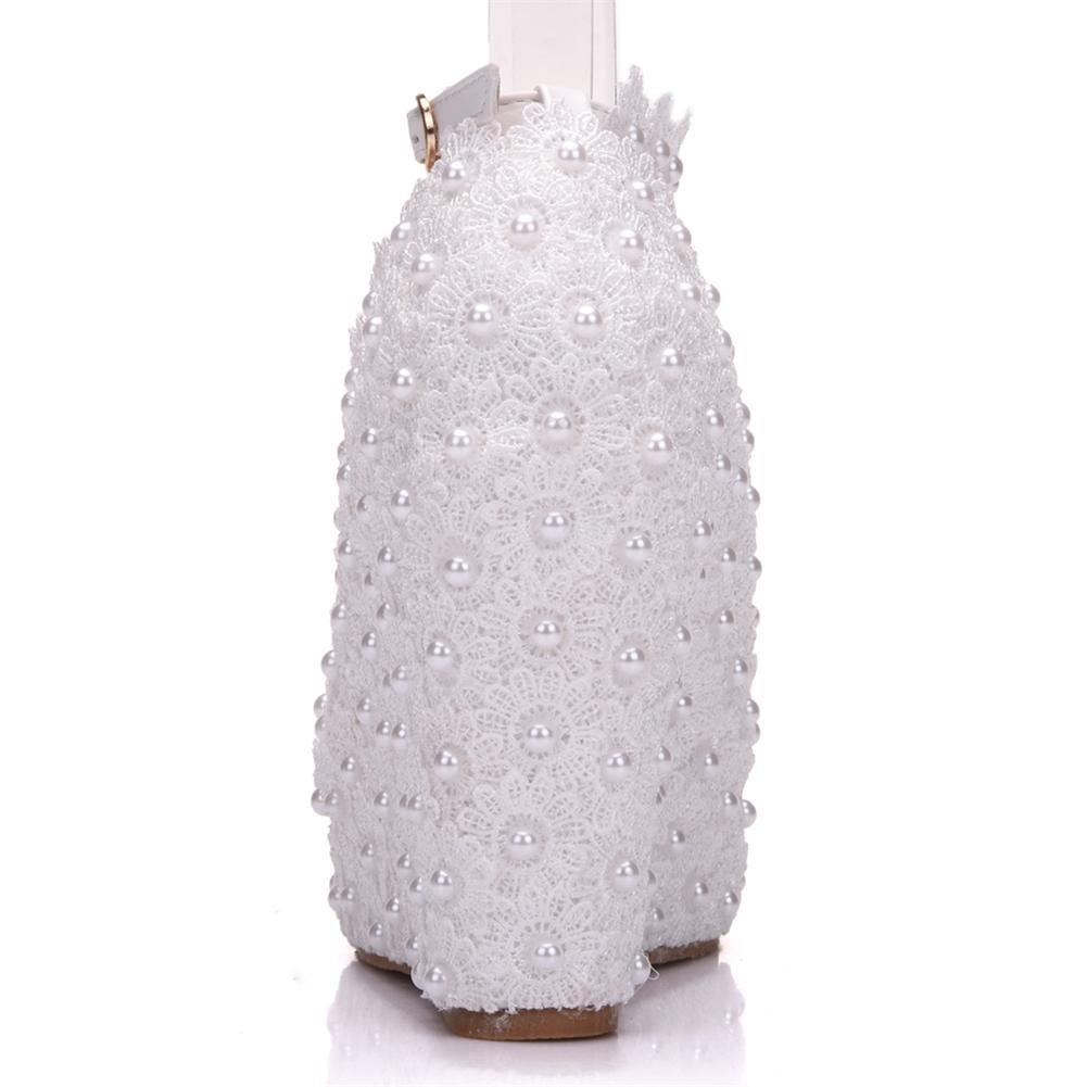 NVXIE Hochzeit Keile Gericht Schuhe Braut Gurt Frau Knöchel Gurt Braut Plattform Spitze Perle Weiß Kleid Abend Frühling Damen Pumps Größe 35-42 41bb96