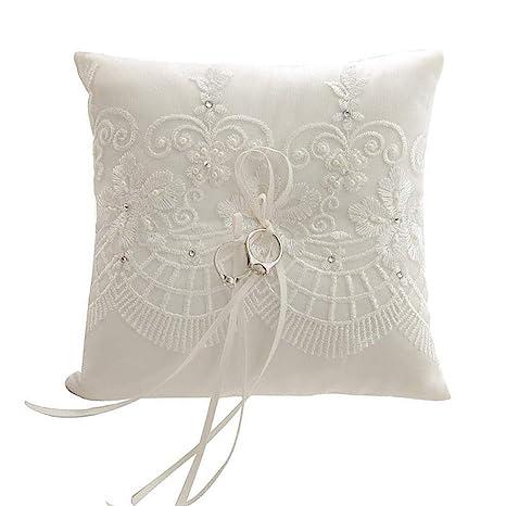 Amazon.com: Dzty - Cojín de perlas de encaje para boda ...