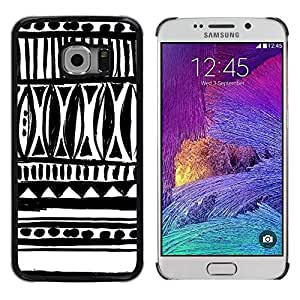 FECELL CITY // Duro Aluminio Pegatina PC Caso decorativo Funda Carcasa de Protección para Samsung Galaxy S6 EDGE SM-G925 // Drawn Ink Art White Black Chevron
