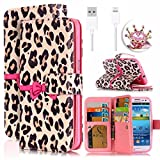 Cheap Samsung Galaxy S5 I9600 Case Cover,Vandot Colorful Printing Leopard Pattern PU Leather Magnetic Flip Folio Stand Wallet Case Card Slots+Diamond Imperial Crown Anti Dust Plug+USB Cable