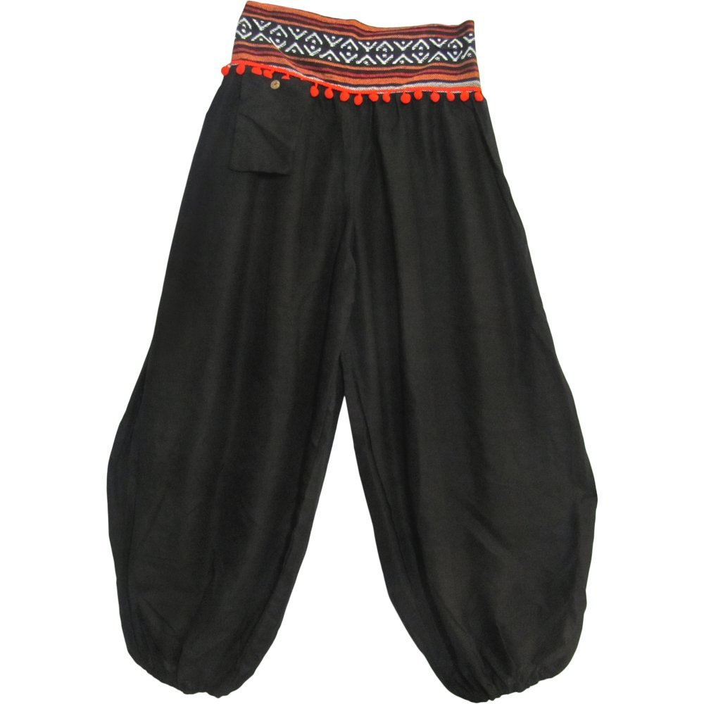 Lady Pirate Bohemian Gypsy Black Harem Pants - DeluxeAdultCostumes.com