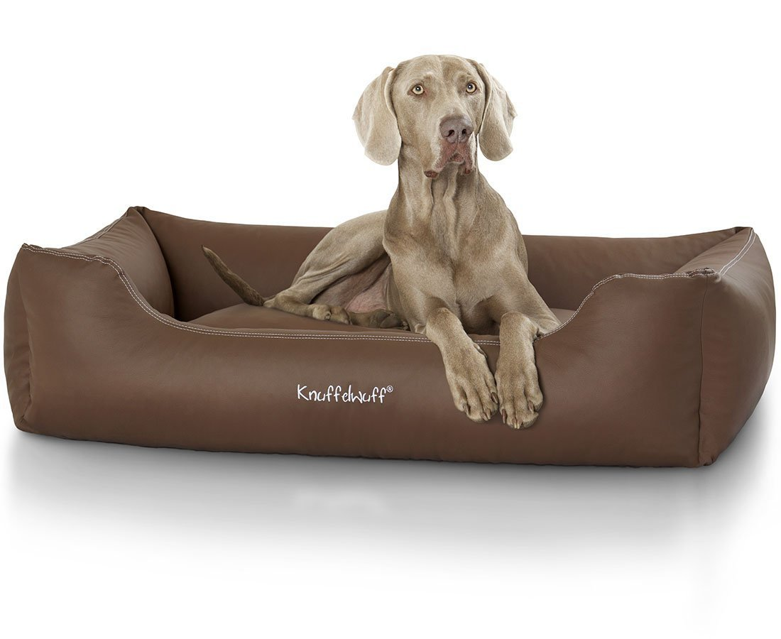 Knuffelwuff panier chien, lit pour chien, coussin, corbeille pour chien Sidney, en cuir, marron XXL 120 x 85cm AMZSIDNEY-2