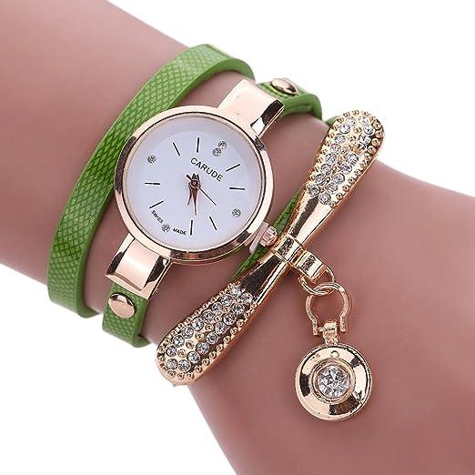 Ears Uhren Damen Frauen Leder Strass Analog Quarz Armbanduhren
