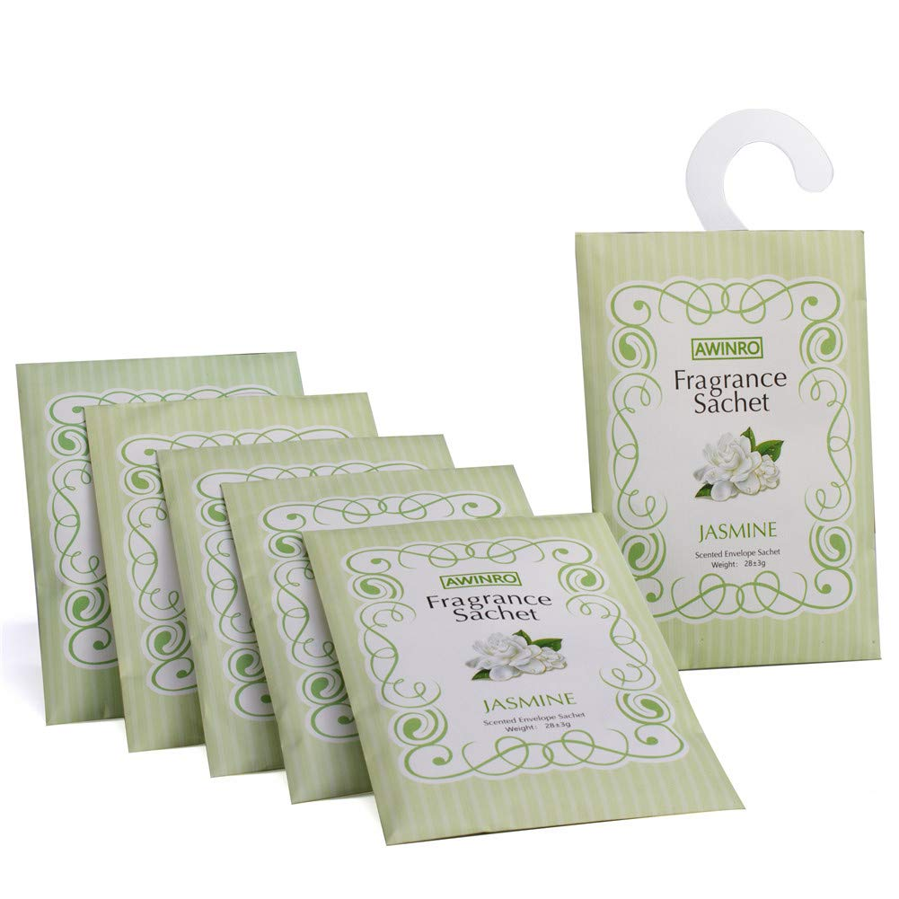 Awinro Jasmine Scented Sachets, Fresh Floral Scented Bags, Pack of 6 Large Sachets with Hanger