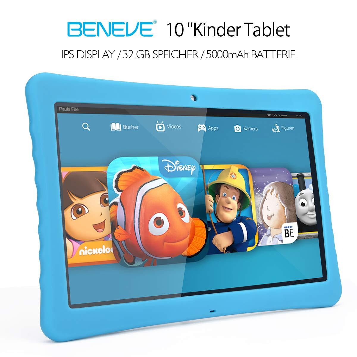 BENEVE 10 Kinder Tablet, 10,1 1080P Full HD Display Android 7,0, 2GB + 32 GB, Dual-Kamera Front 2MP + Rear 5MP, Bluetooth und WiFi-Blau Sungworld