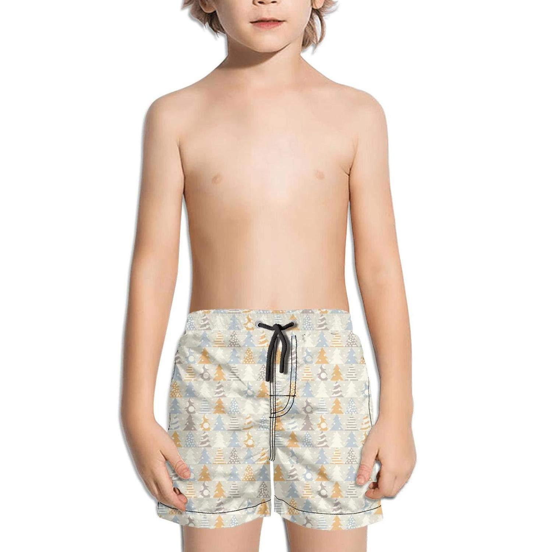 ddasqas Fun Christmas Black Pattern Kid Boys Swim Shorts Swim Trunks