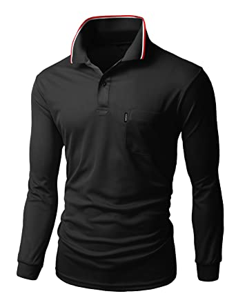 930cadc7 Xpril Men's Coolon fabric long sleeve pocket point Polo T-shirt at ...
