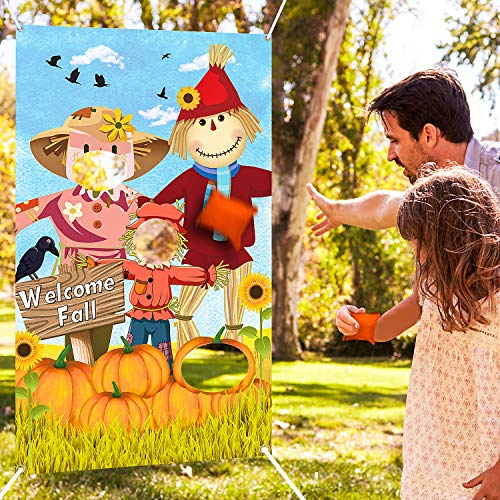 Blulu Scarecrow Bean Bag Toss Games with 3 Bean Bags Happy Fall Party Games Pack and Decoration for Baby Children Family Autumn Thanksgiving Theme Scarecrow Party Favor Supplies (Orange Scarecrow) (Fall Outdoor Party)