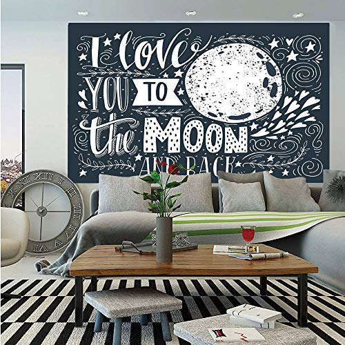 I Love You Huge Photo Wall Mural,Wish from The Universe Harvest Earthen Swirls Branches Floral Leaves Stars Print,Self-Adhesive Large Wallpaper for Home Decor 108x152 inches,Grey White