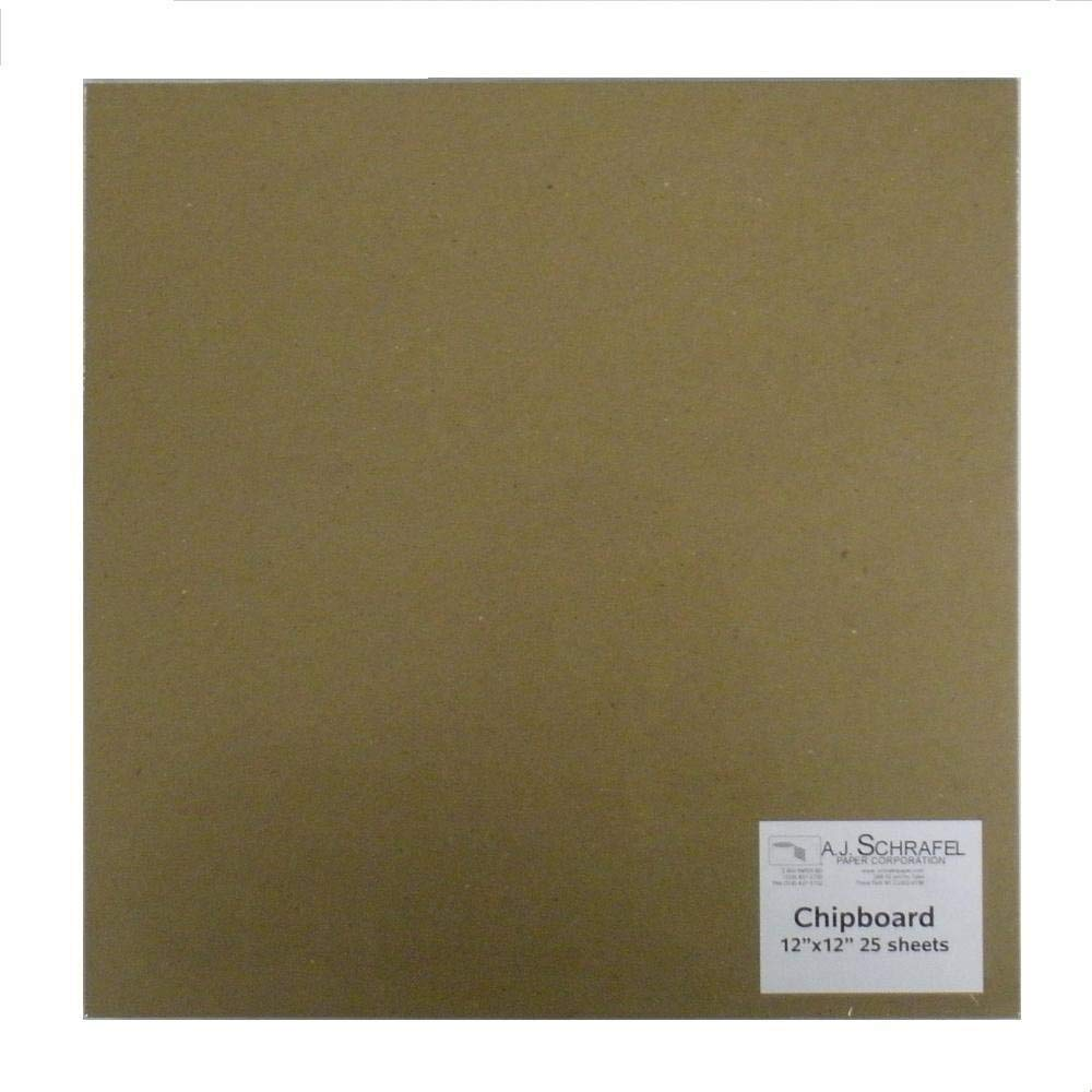 Light Chipboard Sheets 12 x 12 Inches, 25 per Package (Tan-Chip-12-12)
