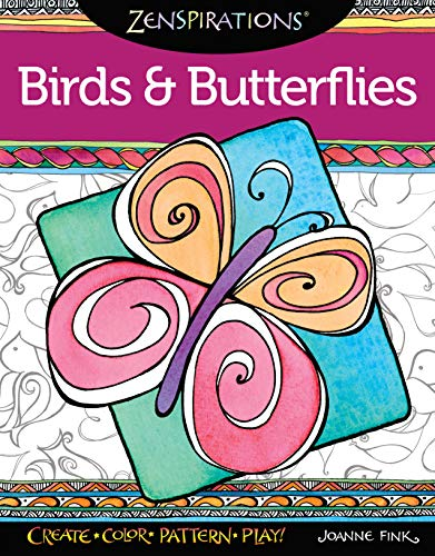 - Zenspirations(TM) Coloring Book Birds & Butterflies (Design Originals) 32 Enchanting Patterns of Uplifting, Fluttering Creations like Owls & Peacocks, plus an Artist's Guide, Finished Examples, & Tips