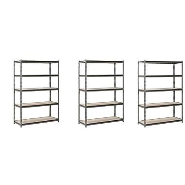 Hardware & Outdoor EDSAL Heavy Duty Garage Shelf Steel Metal Storage 5 Level Adjustable Shelves Unit 72  H x 48  W x 24  Deep (3 Pack)