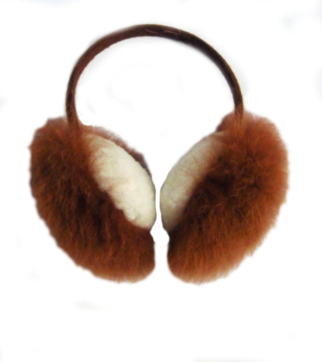 Alpakaandmore Womens Earmuff Alpaca Fur Merino Wool Earwarmer (One Size)