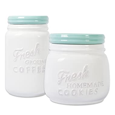 DII 2-Piece Vintage, Retro, Farmhouse Chic, Mason Jar Inspired Ceramic Kitchen Canister, Cookie Jar with Airtight Lid for Food Storage, Store Coffee, Cookies, Crackers, Chips and More - Aqua