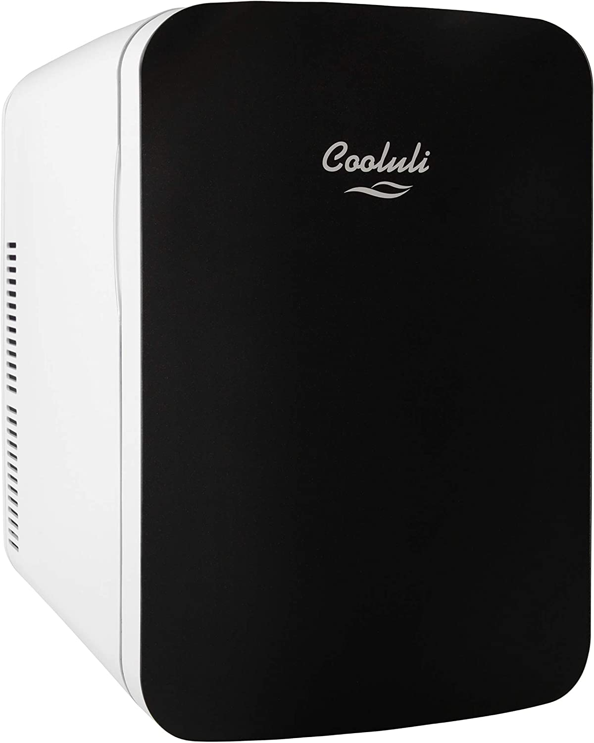 Cooluli Infinity Black 15 Liter Compact Portable Cooler Warmer Mini Fridge for Bedroom, Office, Dorm, Car - Great for Skincare & Cosmetics (110-240V/12V)
