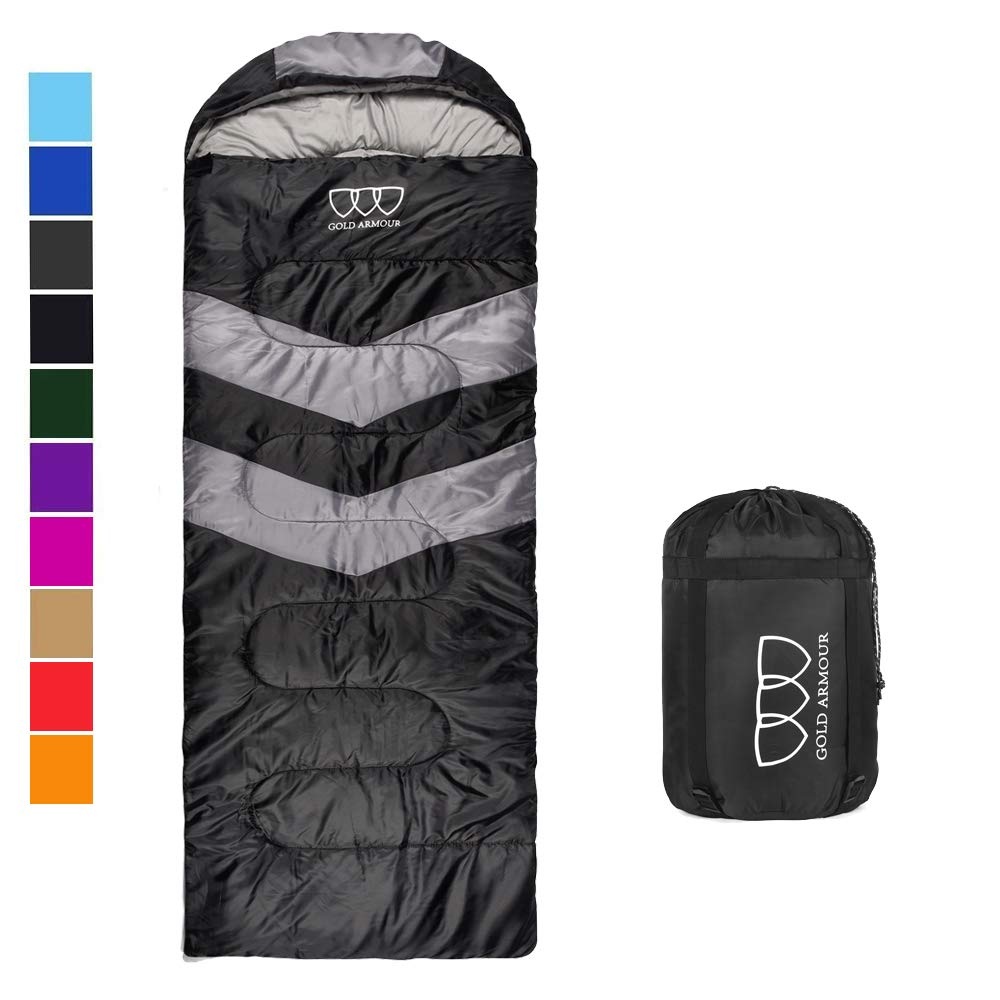Gold Armour Sleeping Bag - Sleeping Bag for Indoor & Outdoor Use - Great for Kids, Boys, Girls, Teens & Adults. Ultralight and Compact Bags are Perfect for Hiking, Backpacking & Camping (Black/Gray) by Gold Armour