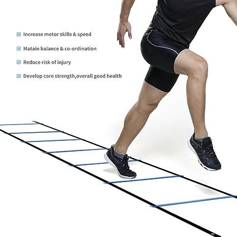 Fútbol Entrenamiento Escalera para Velocidad Agilidad Coordinación con 4 metros 7 Peldaño (Azul): Amazon.es: Deportes y aire libre