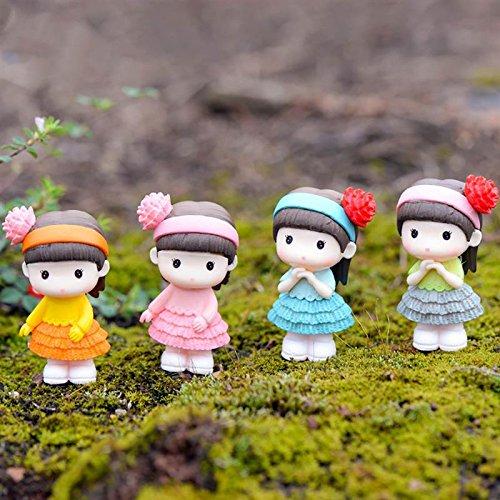 (SMALL-CHIPINC - New 4PCS Cute Little Girl Miniature Figurine Bonsai Decorative Mini Fairy Garden People Statue Moss Ornaments Resin Craft)