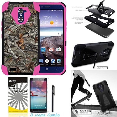 For ZTE ZMAX PRO ZTE CARRY Z981 /ITUFFY 3items: LCD Film+Stylus Pen+[Dual Layer] [Impact Resistance] [KickStand] Hybrid Armor Case Camo Tree Branch – Pink