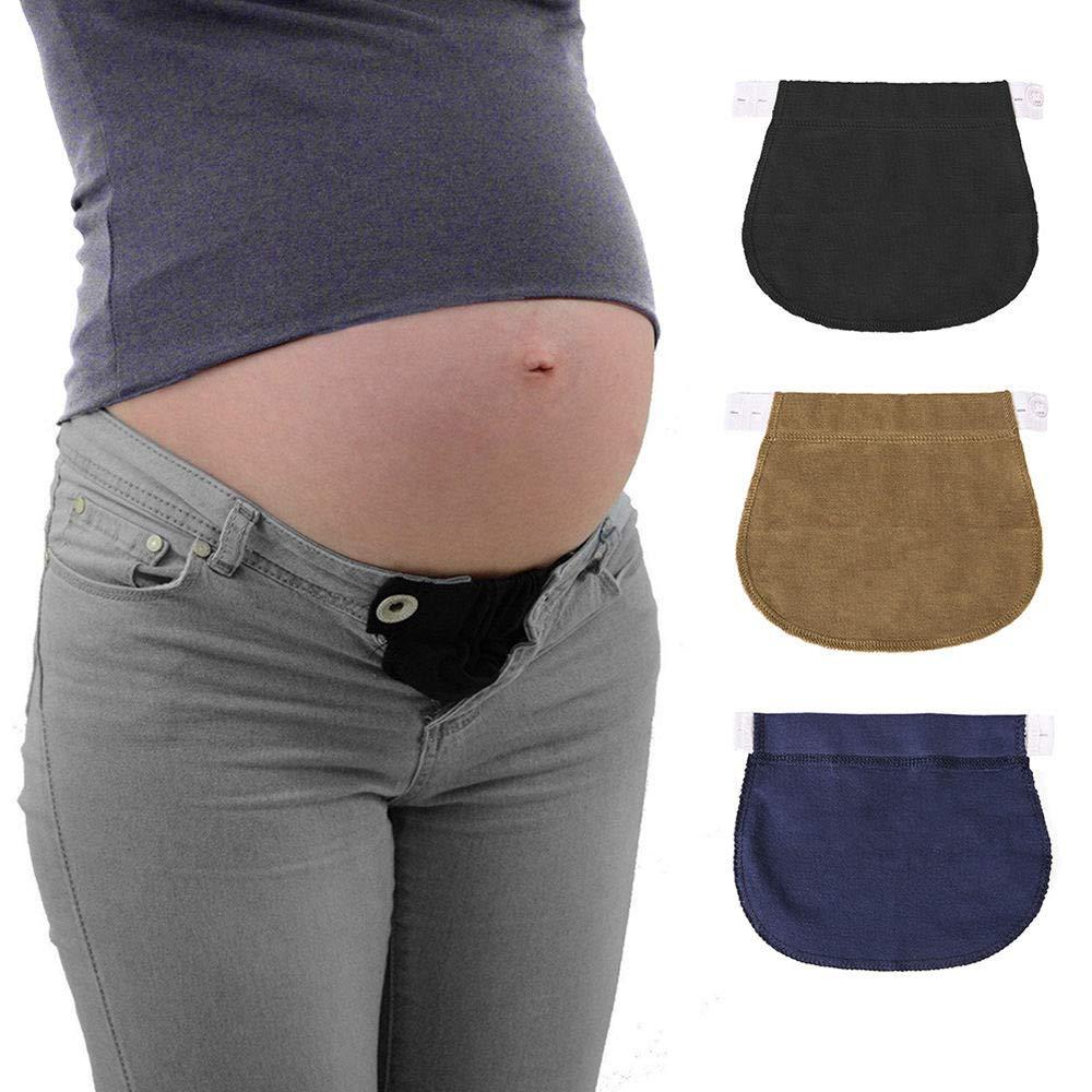 ReFaXi 3PCS Elastic Waist Extensor Cotton Pregnant Woman Belt Extended Button Pants