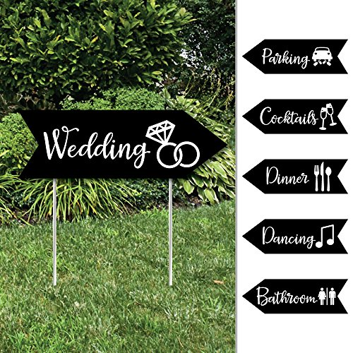 Black and White - Arrow Wedding and Reception Directional Signs - Double Sided Outdoor Yard Sign - Set of 6]()