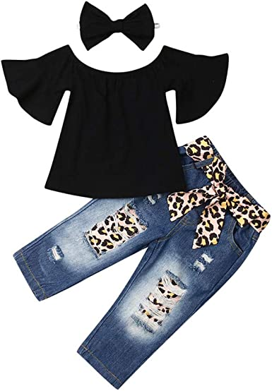 Baby Kids Girls Tops Bottoms Set Vest Pants Shirt Trousers 2pcs Leopard Casual