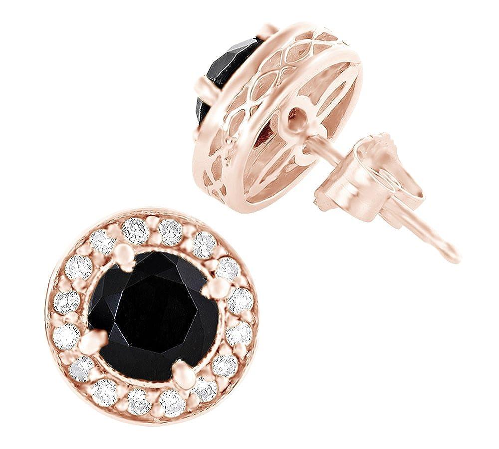 Weißszlig; & Schwarznatürlicher Diamant Halo Ohrstecker in 14 ct 585 Massiv Weißszlig; Gold 14 Karat RotGold