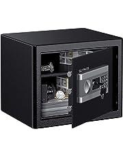 Tresor Safe L SLYPNOS 37x31x30 cm mit 3 Doppelstahlbolzen, elektronischem Zahlenschloss, 2 Notfall Vorrang Tasten, 4 Batterien, für Schmuck Bargeld Dokument
