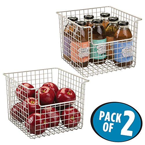 Wire Rack Accessory Bin (mDesign Household Open Front Wire Storage Organizer Bin Basket for Kitchen Cabinets, Pantry, Closets, Bedrooms, Bathrooms – 10